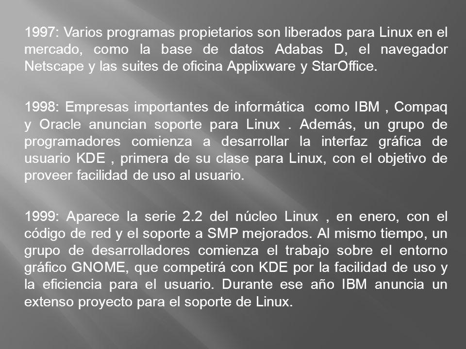 1997: Varios programas propietarios son liberados para Linux en el mercado, como la base de datos Adabas D, el navegador Netscape y las suites de oficina Applixware y StarOffice.