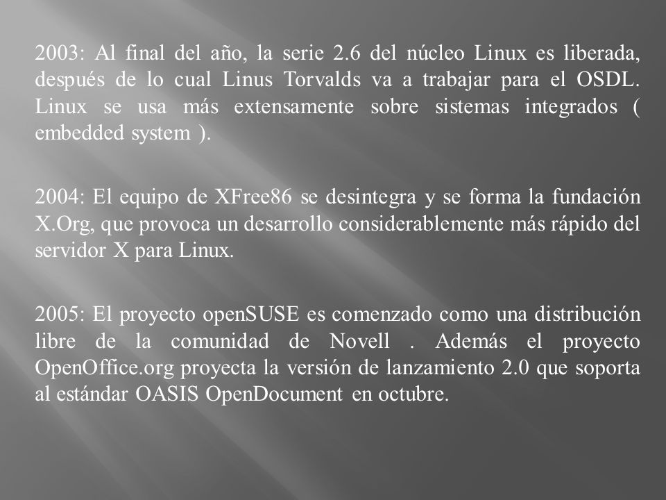 2003: Al final del año, la serie 2.6 del núcleo Linux es liberada, después de lo cual Linus Torvalds va a trabajar para el OSDL.