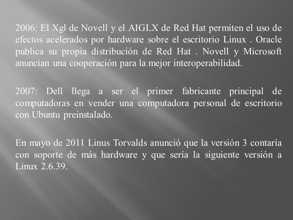 2006: El Xgl de Novell y el AIGLX de Red Hat permiten el uso de efectos acelerados por hardware sobre el escritorio Linux.