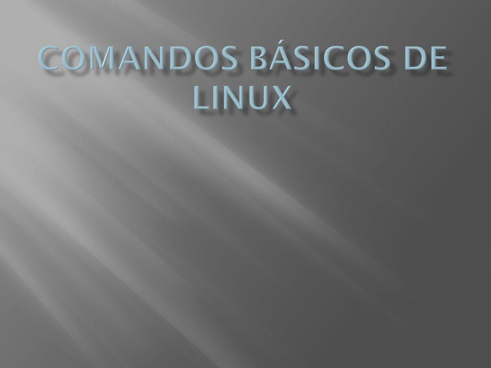 Estos comandos están divididos en varios apartados para una más fácil identificación: Para el manejo de archivos: cd - sirve para cambiar el directorio compress - con este comando se comprimen archivos en formato.Z cp - hace una copia de un archivo chmod - cambia los permisos de un archivo o directorio chown - cambia el propietario del archivo o directorio df - muestra el espacio libre en disco du - muestra el espacio utilizado en disco fdformat - formatea un disquete fdisk - se utiliza para particionar unidades file - determina el tipo de archivo a través del análisis parcial de su contenido find - hace una búsqueda a un archivo determinado fsck - examina el sistema de archivos gzip - descomprime un archivo en formato Gzip ln - crea un enlace simbólico o físico, dependiendo de la opción
