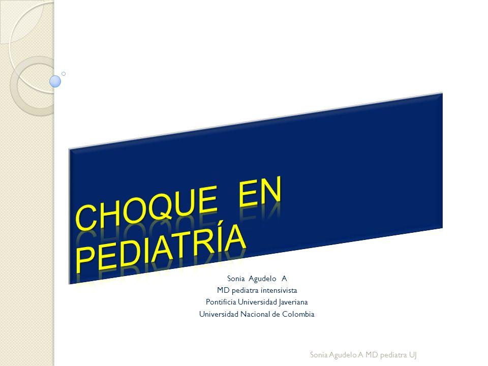Etiología Hipovolemia por hemorragia Depleción de volumen no hemorrágico Vómito Diarrea Quemadura severa Tercer espacio Diabetes S.Nefrótico Otros Sonia Agudelo A MD pediatra UJ