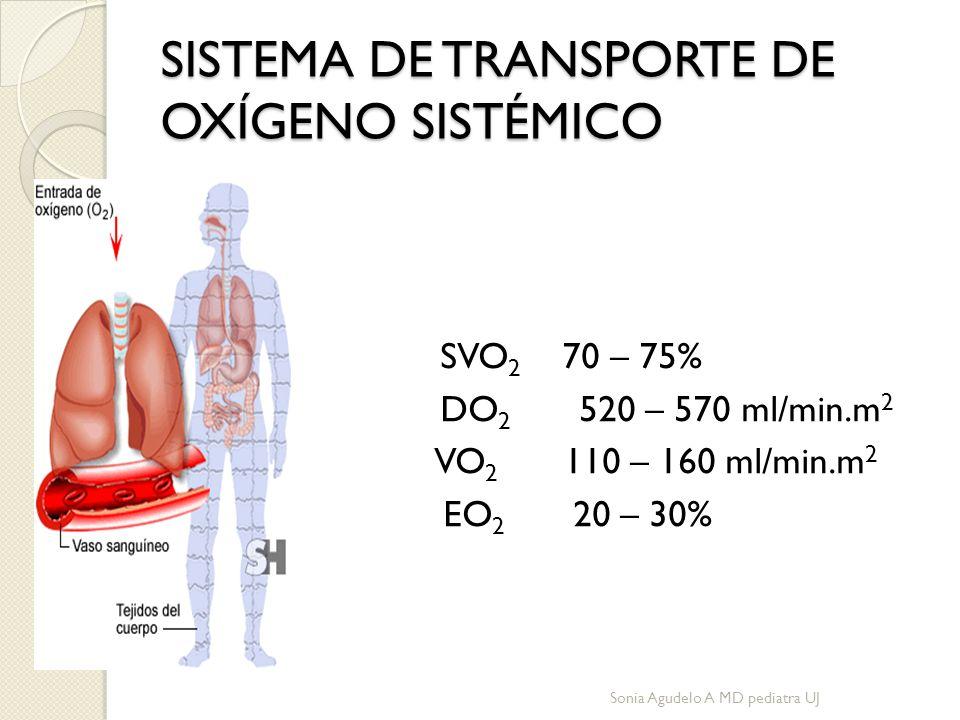 SISTEMA DE TRANSPORTE DE OXÍGENO SISTÉMICO SVO 2 70 – 75% DO 2 520 – 570 ml/min.m 2 VO 2 110 – 160 ml/min.m 2 EO 2 20 – 30% MARINO P.