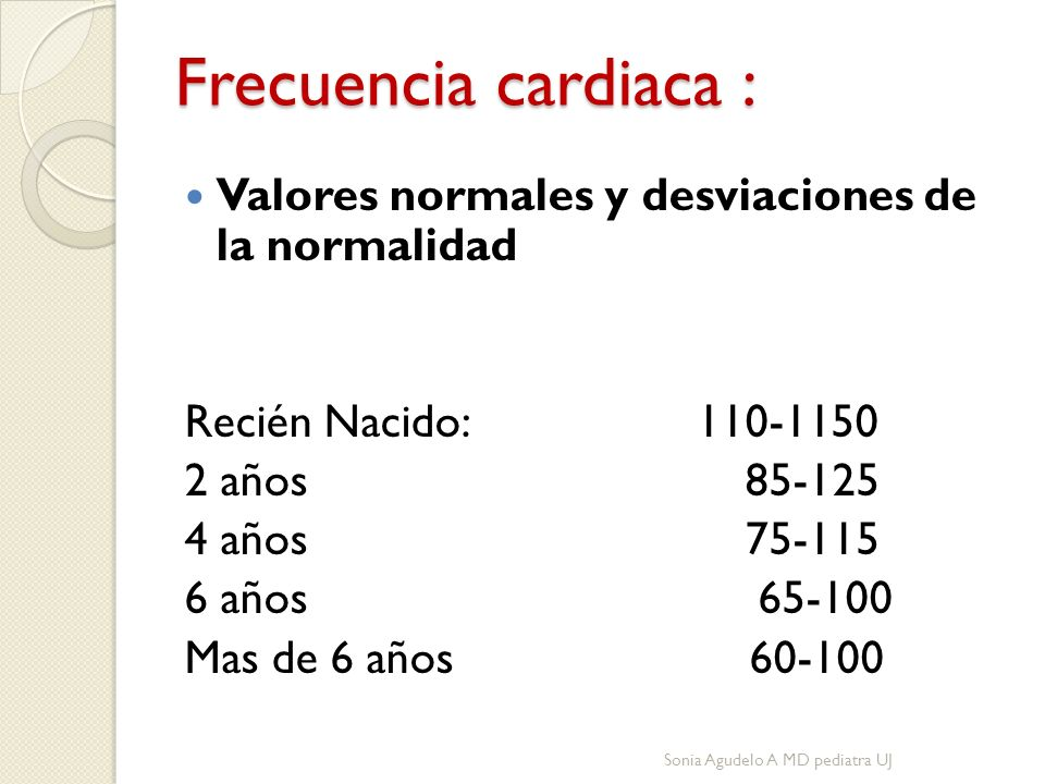 Frecuencia cardiaca : Valores normales y desviaciones de la normalidad Recién Nacido: 110-1150 2 años 85-125 4 años 75-115 6 años 65-100 Mas de 6 años 60-100 Sonia Agudelo A MD pediatra UJ
