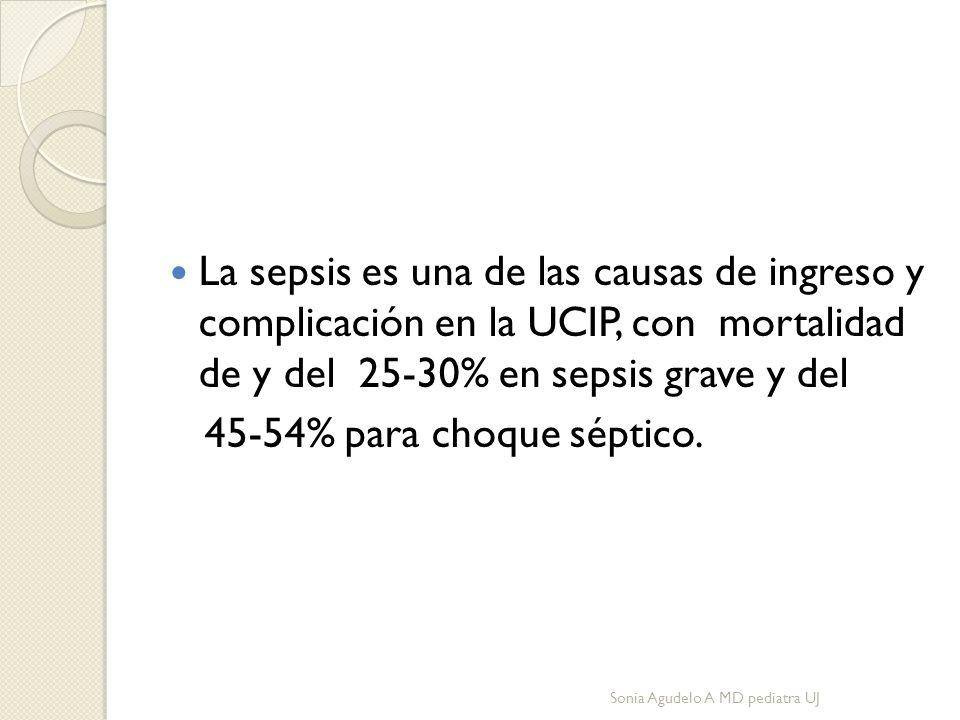 La sepsis es una de las causas de ingreso y complicación en la UCIP, con mortalidad de y del 25-30% en sepsis grave y del 45-54% para choque séptico.