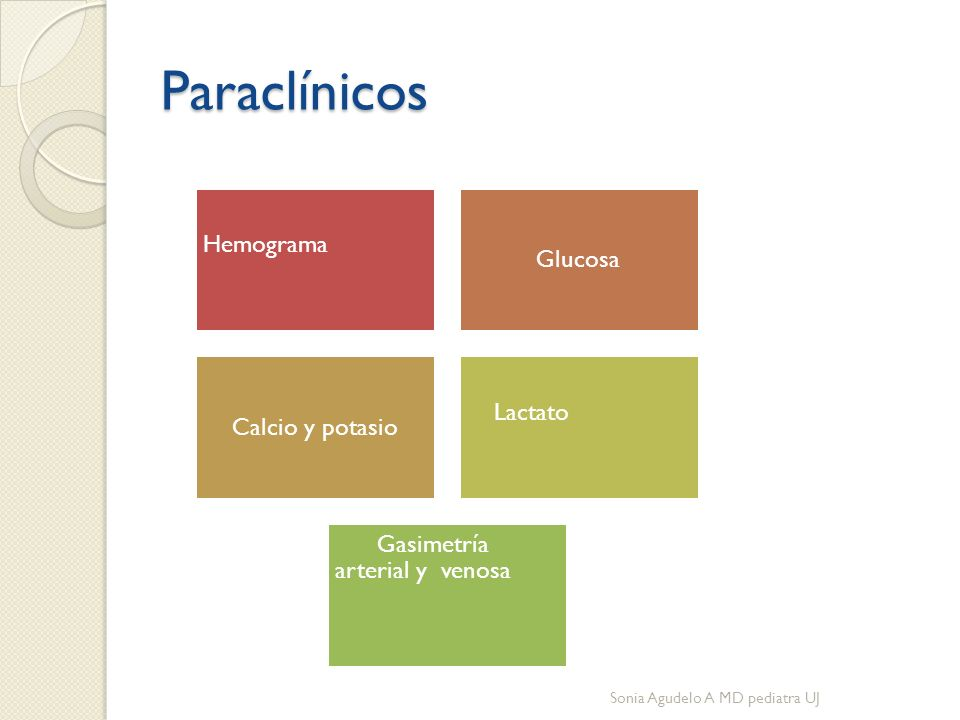 Paraclínicos Hemograma Glucosa Calcio y potasio Lactato Gasimetría arterial y venosa Sonia Agudelo A MD pediatra UJ