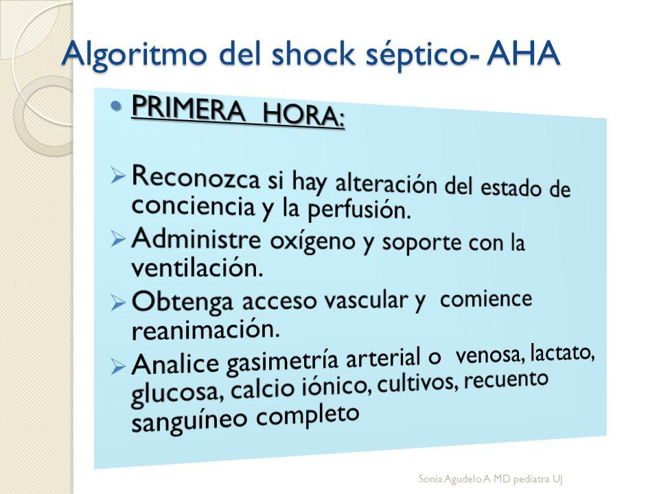Algoritmo del shock séptico- AHA Sonia Agudelo A MD pediatra UJ
