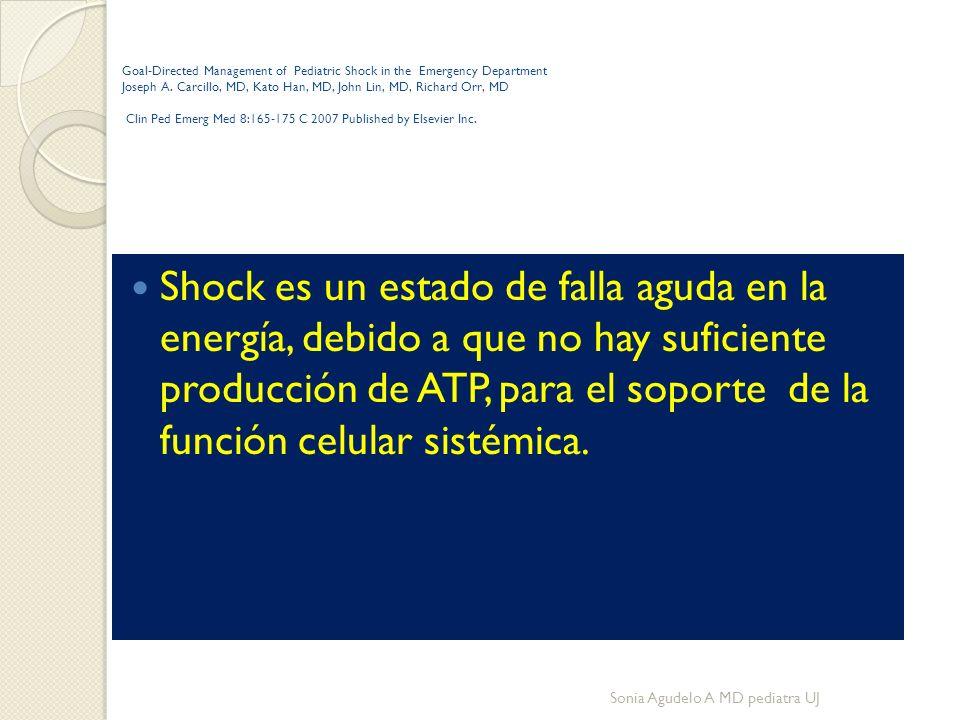 Generalidades Deriva del galicismo choc – colapso circulatorio en pacientes con heridas por armas de fuego Inglés: shock----español : choque Principal causa en pediatría: HIPOVOLEMIA Sonia Agudelo A MD pediatra UJ