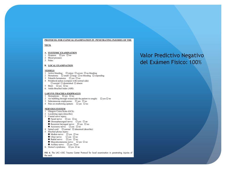 Valor Predictivo Negativo del Exámen Fisico: 100%