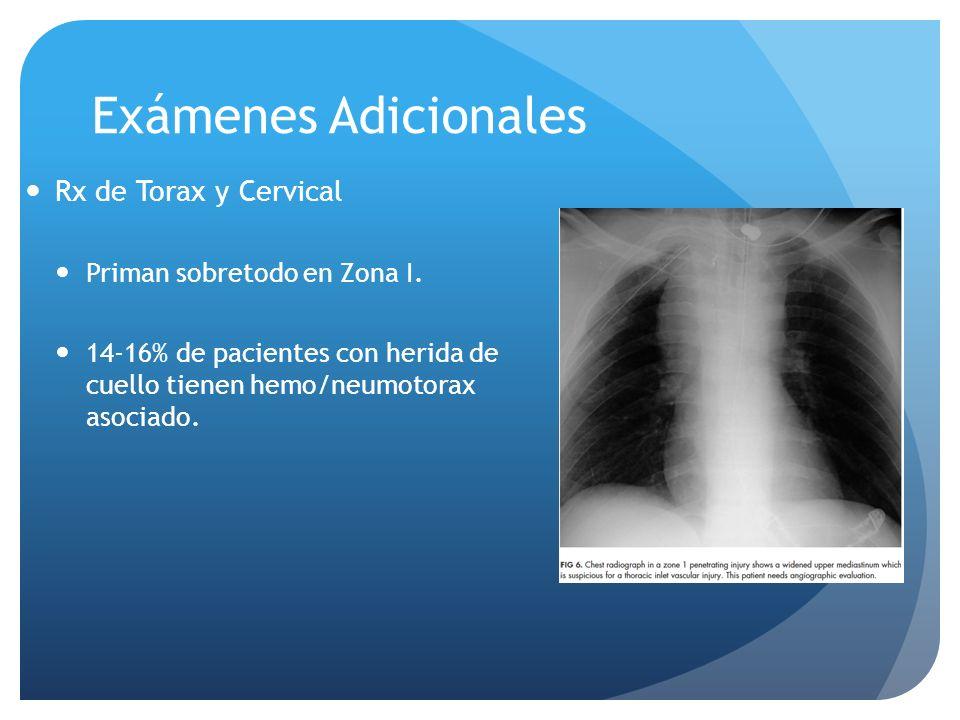 Exámenes Adicionales Rx de Torax y Cervical Priman sobretodo en Zona I. 14-16% de pacientes con herida de cuello tienen hemo/neumotorax asociado.