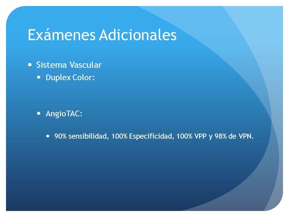 Exámenes Adicionales Sistema Vascular Duplex Color: AngioTAC: 90% sensibilidad, 100% Especificidad, 100% VPP y 98% de VPN.