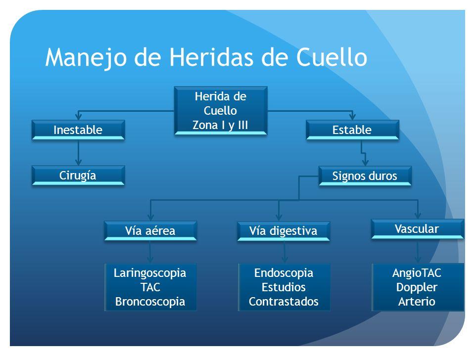 Manejo de Heridas de Cuello Herida de Cuello Zona I y III Herida de Cuello Zona I y III Signos duros Inestable Cirugía Estable Vía aérea Vía digestiva