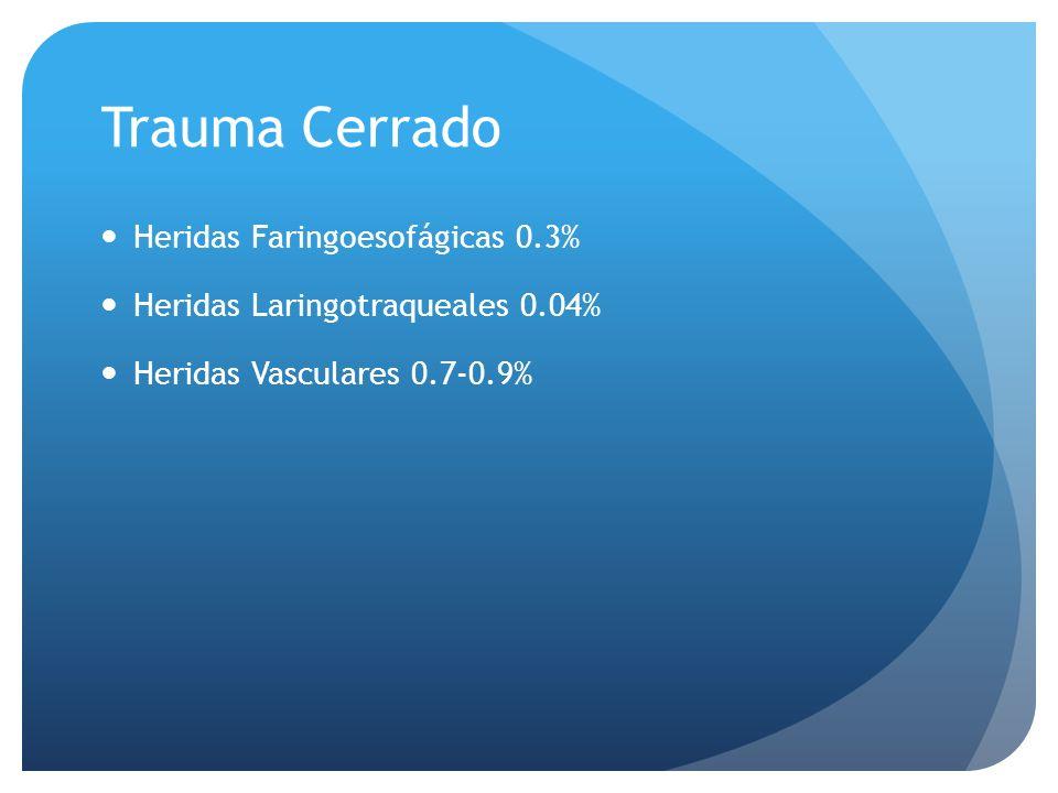 Trauma Cerrado Heridas Faringoesofágicas 0.3% Heridas Laringotraqueales 0.04% Heridas Vasculares 0.7-0.9%