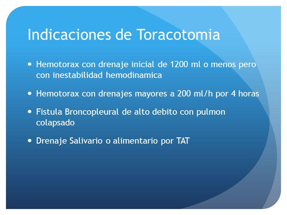 Indicaciones de Toracotomia Hemotorax con drenaje inicial de 1200 ml o menos pero con inestabilidad hemodinamica Hemotorax con drenajes mayores a 200 ml/h por 4 horas Fistula Broncopleural de alto debito con pulmon colapsado Drenaje Salivario o alimentario por TAT