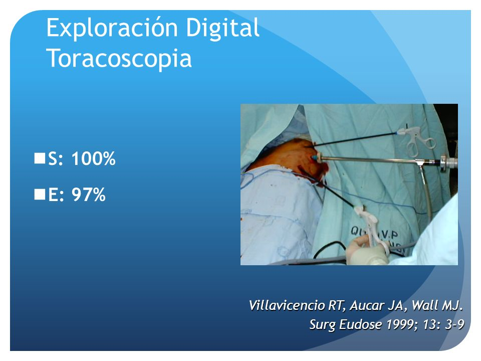 S: 100% E: 97% Exploración Digital Toracoscopia Villavicencio RT, Aucar JA, Wall MJ.
