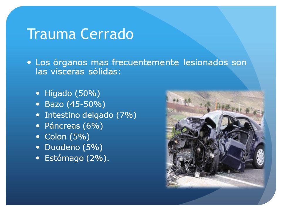 Trauma Cerrado Los órganos mas frecuentemente lesionados son las vísceras sólidas: Hígado (50%) Bazo (45-50%) Intestino delgado (7%) Páncreas (6%) Colon (5%) Duodeno (5%) Estómago (2%).