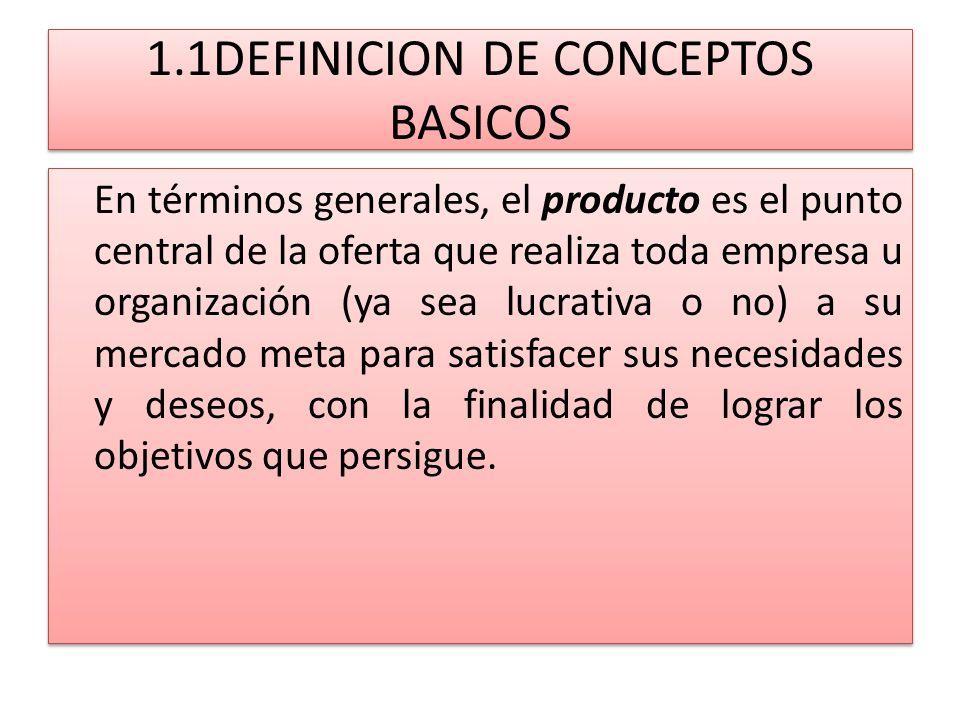 1.1DEFINICION DE CONCEPTOS BASICOS En términos generales, el producto es el punto central de la oferta que realiza toda empresa u organización (ya sea