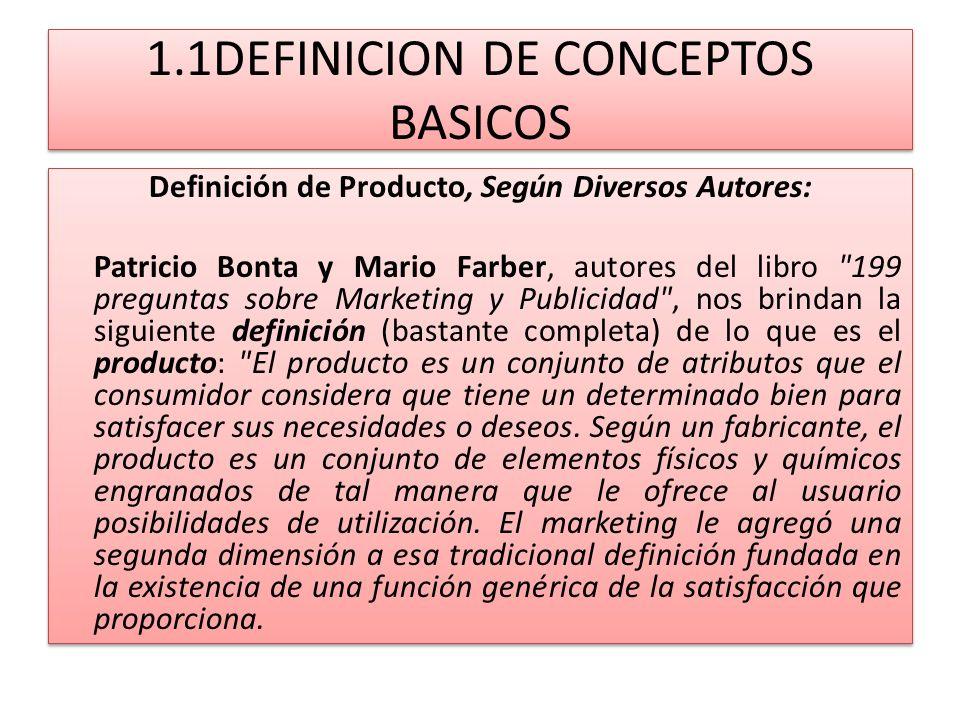 1.1DEFINICION DE CONCEPTOS BASICOS Definición de Producto, Según Diversos Autores: Patricio Bonta y Mario Farber, autores del libro