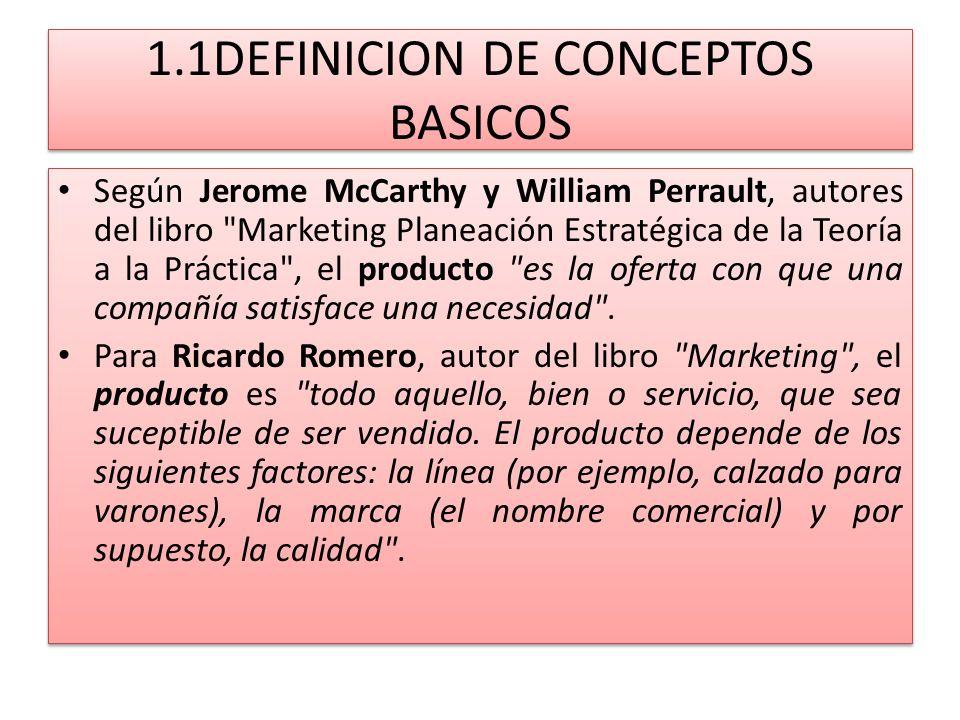 1.1DEFINICION DE CONCEPTOS BASICOS Según Jerome McCarthy y William Perrault, autores del libro