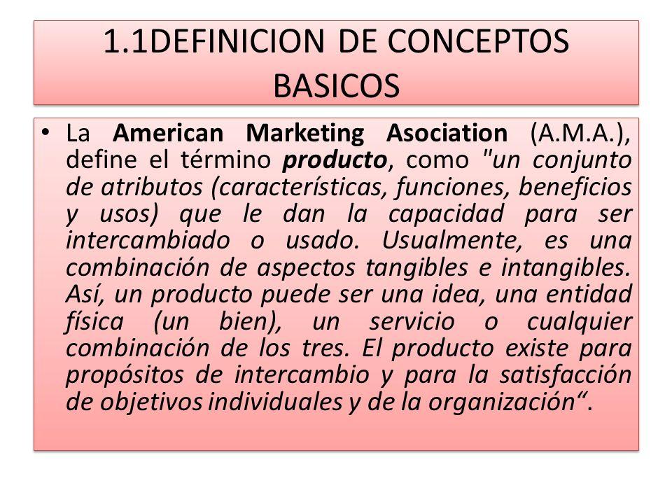 1.1DEFINICION DE CONCEPTOS BASICOS La American Marketing Asociation (A.M.A.), define el término producto, como