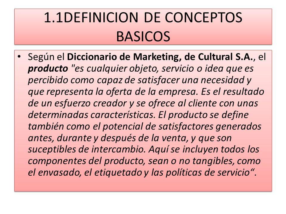 1.1DEFINICION DE CONCEPTOS BASICOS Según el Diccionario de Marketing, de Cultural S.A., el producto