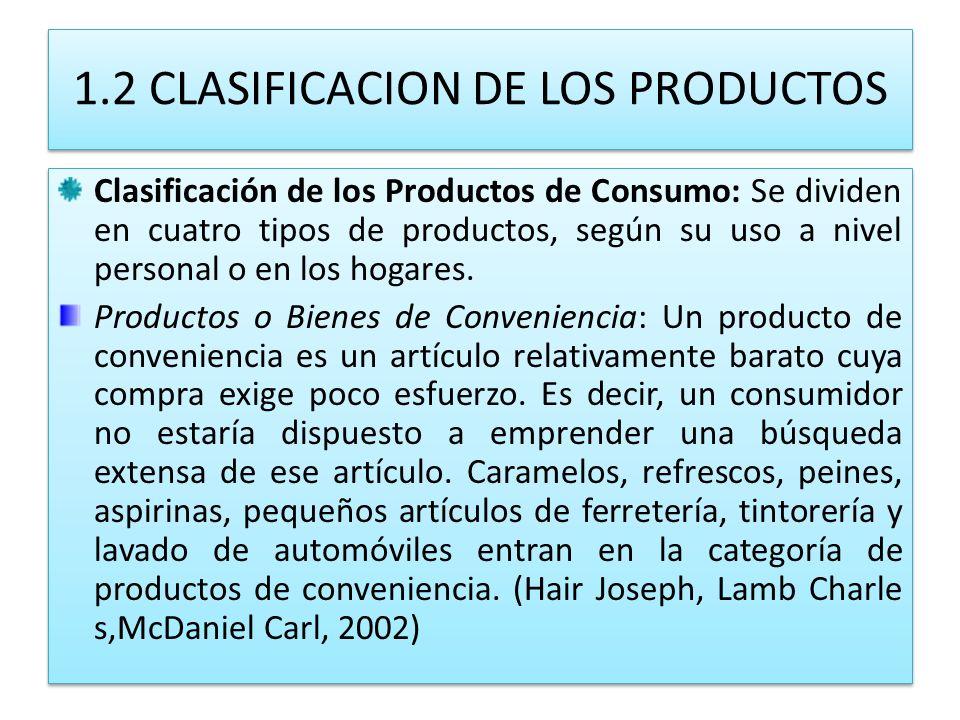 1.2 CLASIFICACION DE LOS PRODUCTOS Clasificación de los Productos de Consumo: Se dividen en cuatro tipos de productos, según su uso a nivel personal o