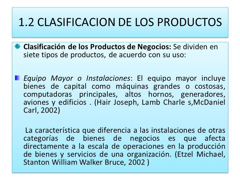 1.2 CLASIFICACION DE LOS PRODUCTOS Clasificación de los Productos de Negocios: Se dividen en siete tipos de productos, de acuerdo con su uso: Equipo M