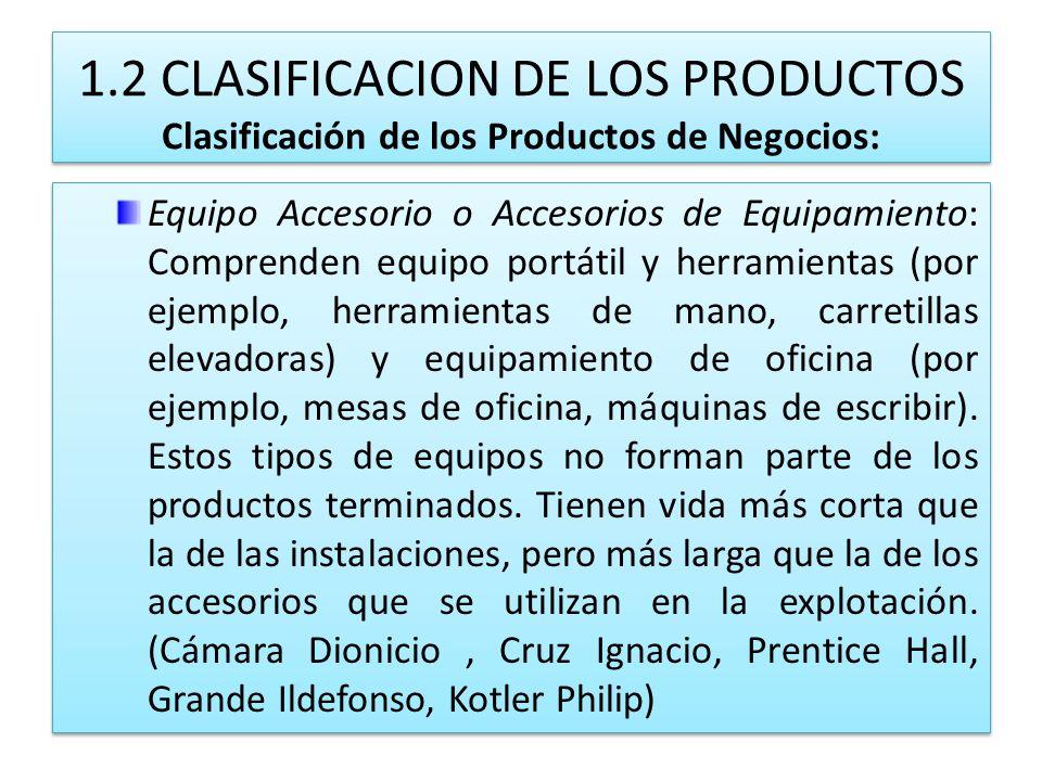1.2 CLASIFICACION DE LOS PRODUCTOS Clasificación de los Productos de Negocios: Equipo Accesorio o Accesorios de Equipamiento: Comprenden equipo portát