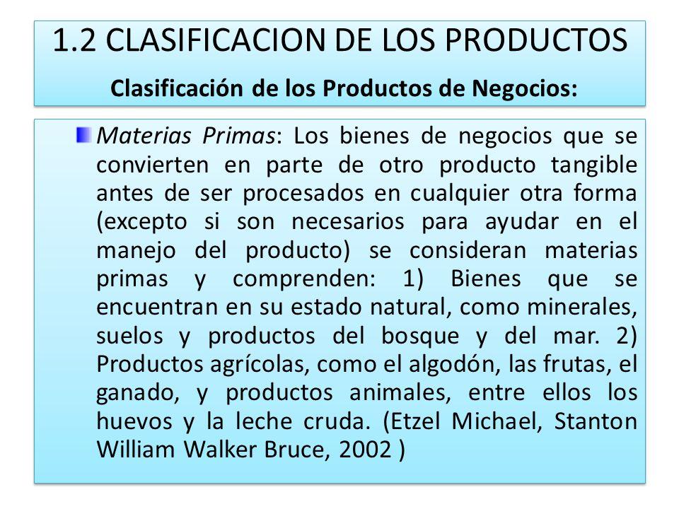 1.2 CLASIFICACION DE LOS PRODUCTOS Clasificación de los Productos de Negocios: Materias Primas: Los bienes de negocios que se convierten en parte de o