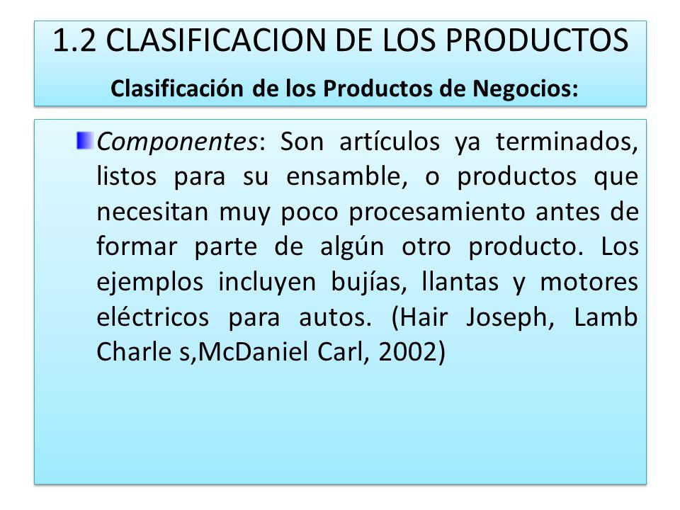 1.2 CLASIFICACION DE LOS PRODUCTOS Clasificación de los Productos de Negocios: Componentes: Son artículos ya terminados, listos para su ensamble, o pr