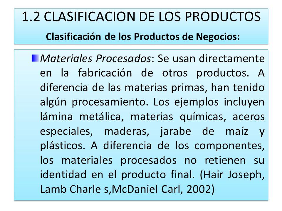 1.2 CLASIFICACION DE LOS PRODUCTOS Clasificación de los Productos de Negocios: Materiales Procesados: Se usan directamente en la fabricación de otros