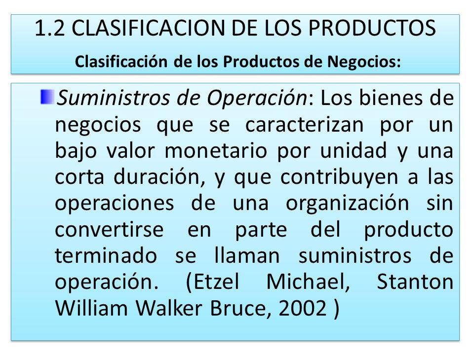 1.2 CLASIFICACION DE LOS PRODUCTOS Clasificación de los Productos de Negocios: Suministros de Operación: Los bienes de negocios que se caracterizan po