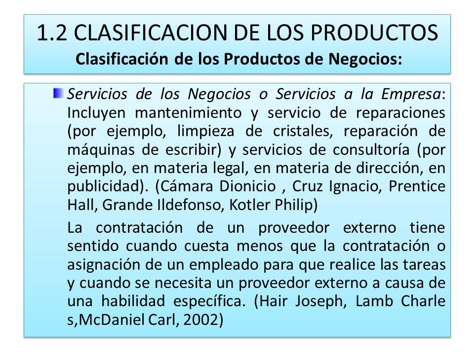 1.2 CLASIFICACION DE LOS PRODUCTOS Clasificación de los Productos de Negocios: Servicios de los Negocios o Servicios a la Empresa: Incluyen mantenimie