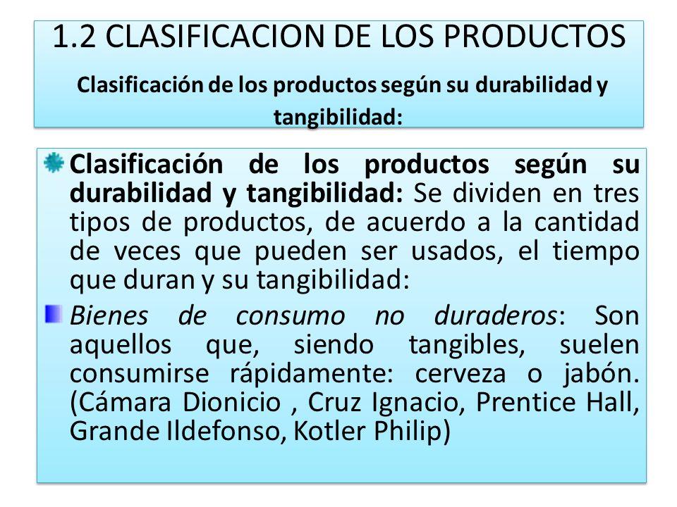 1.2 CLASIFICACION DE LOS PRODUCTOS Clasificación de los productos según su durabilidad y tangibilidad: Clasificación de los productos según su durabil