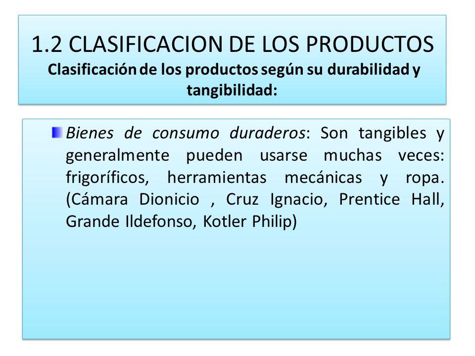 1.2 CLASIFICACION DE LOS PRODUCTOS Clasificación de los productos según su durabilidad y tangibilidad: Bienes de consumo duraderos: Son tangibles y ge