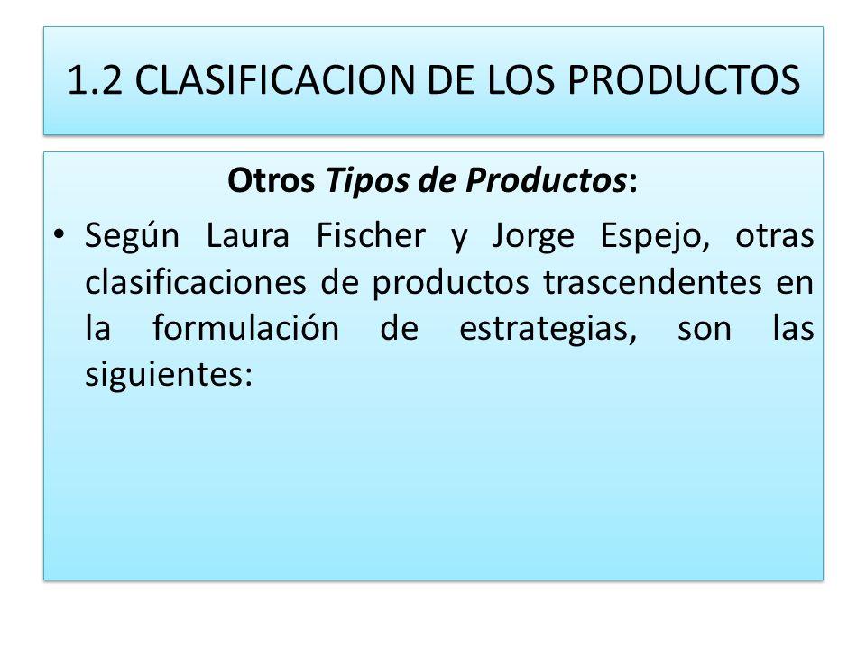 1.2 CLASIFICACION DE LOS PRODUCTOS Otros Tipos de Productos: Según Laura Fischer y Jorge Espejo, otras clasificaciones de productos trascendentes en l