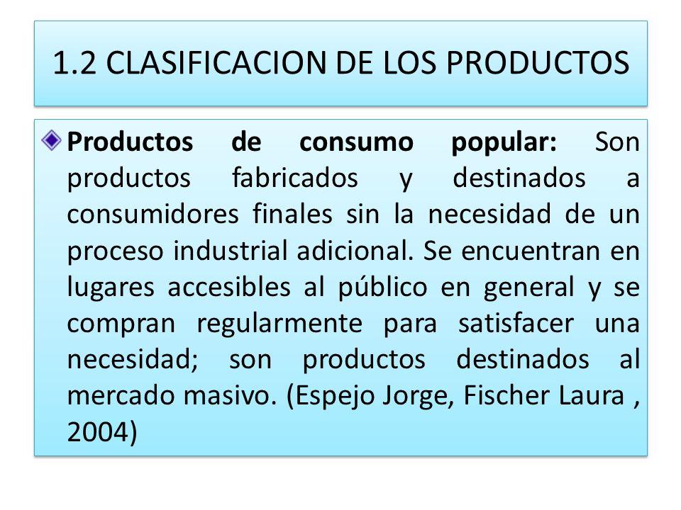 1.2 CLASIFICACION DE LOS PRODUCTOS Productos de consumo popular: Son productos fabricados y destinados a consumidores finales sin la necesidad de un p