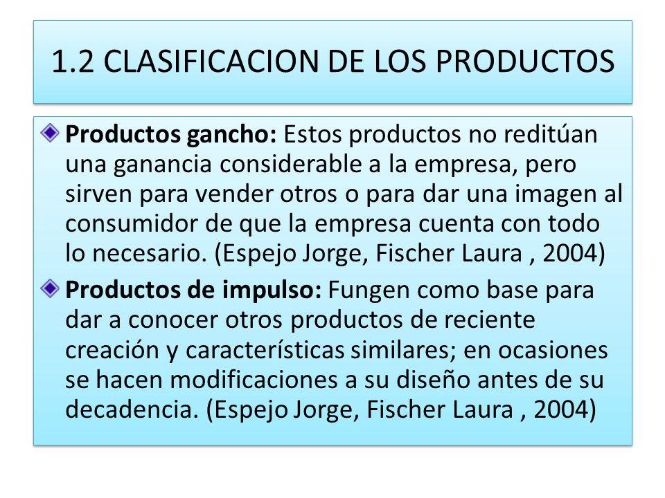 1.2 CLASIFICACION DE LOS PRODUCTOS Productos gancho: Estos productos no reditúan una ganancia considerable a la empresa, pero sirven para vender otros