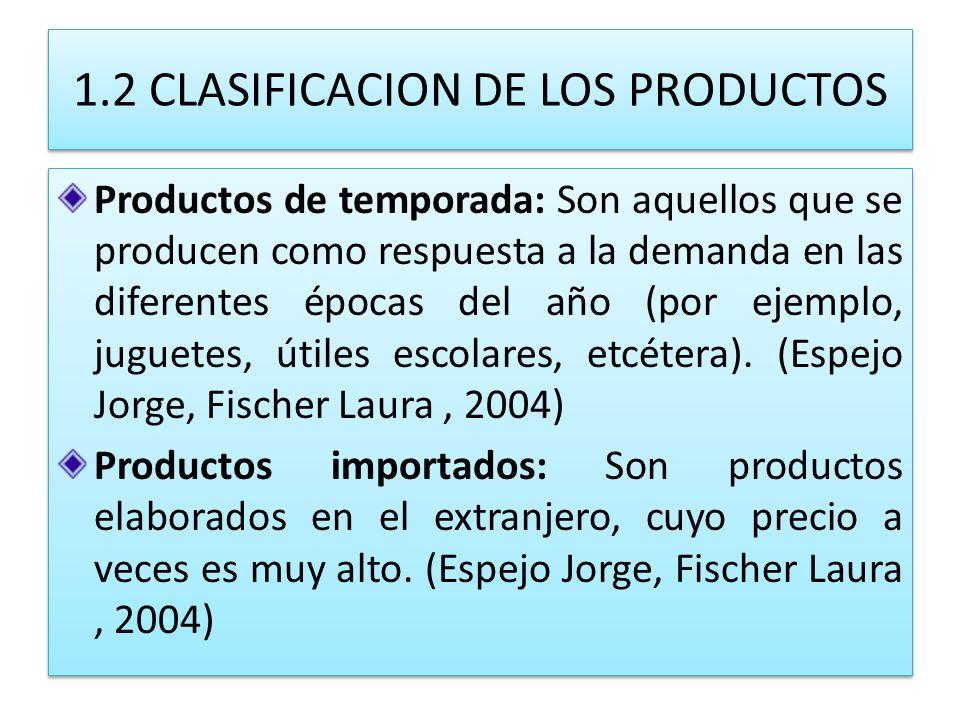 1.2 CLASIFICACION DE LOS PRODUCTOS Productos de temporada: Son aquellos que se producen como respuesta a la demanda en las diferentes épocas del año (