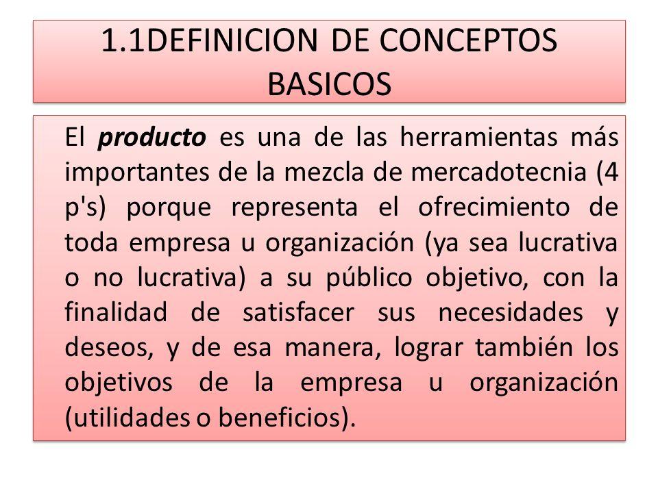 1.1DEFINICION DE CONCEPTOS BASICOS El producto es una de las herramientas más importantes de la mezcla de mercadotecnia (4 p's) porque representa el o