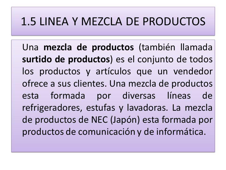 1.5 LINEA Y MEZCLA DE PRODUCTOS Una mezcla de productos (también llamada surtido de productos) es el conjunto de todos los productos y artículos que u