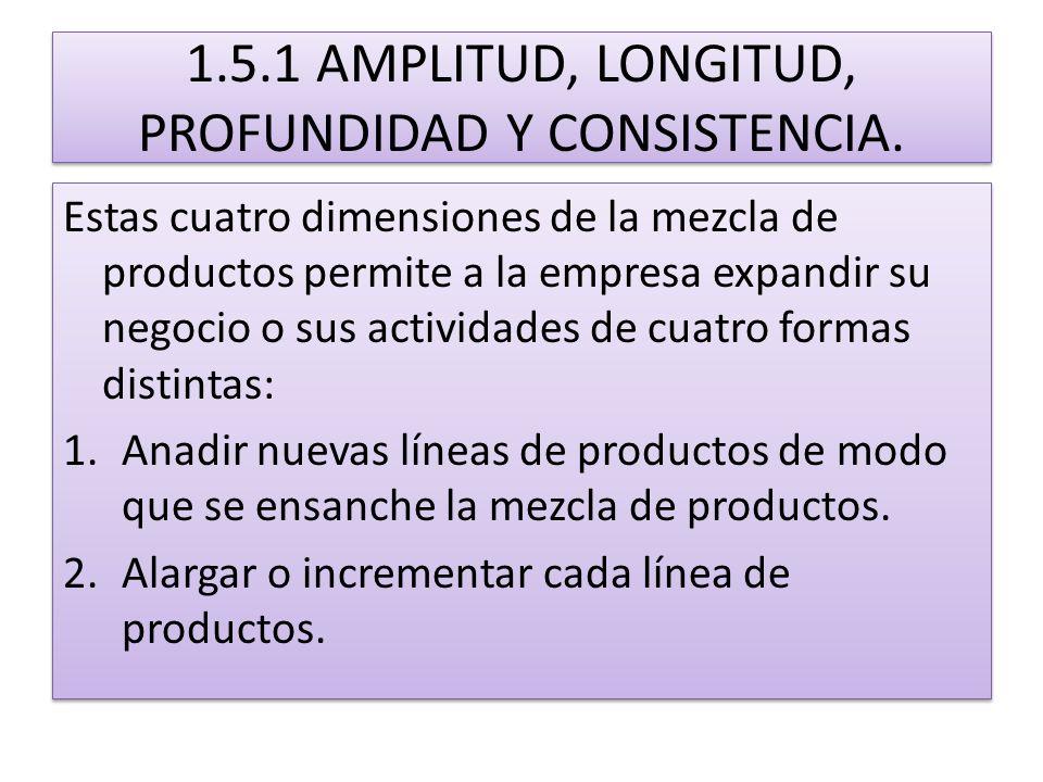 1.5.1 AMPLITUD, LONGITUD, PROFUNDIDAD Y CONSISTENCIA. Estas cuatro dimensiones de la mezcla de productos permite a la empresa expandir su negocio o su