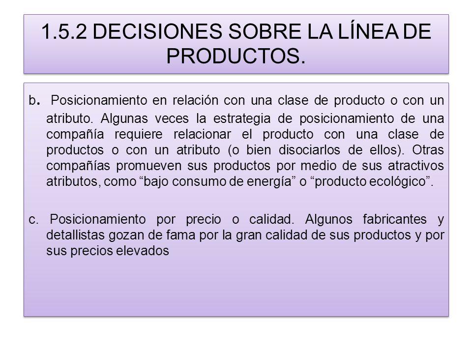 1.5.2 DECISIONES SOBRE LA LÍNEA DE PRODUCTOS. b. Posicionamiento en relación con una clase de producto o con un atributo. Algunas veces la estrategia