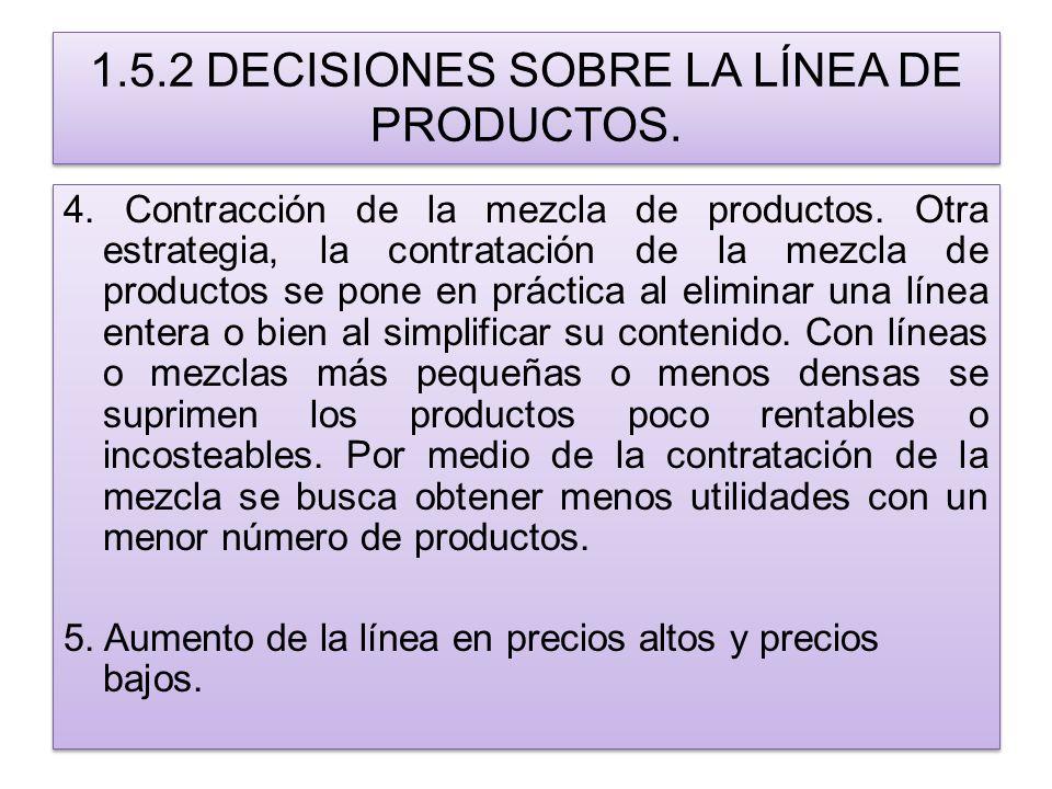 1.5.2 DECISIONES SOBRE LA LÍNEA DE PRODUCTOS. 4. Contracción de la mezcla de productos. Otra estrategia, la contratación de la mezcla de productos se