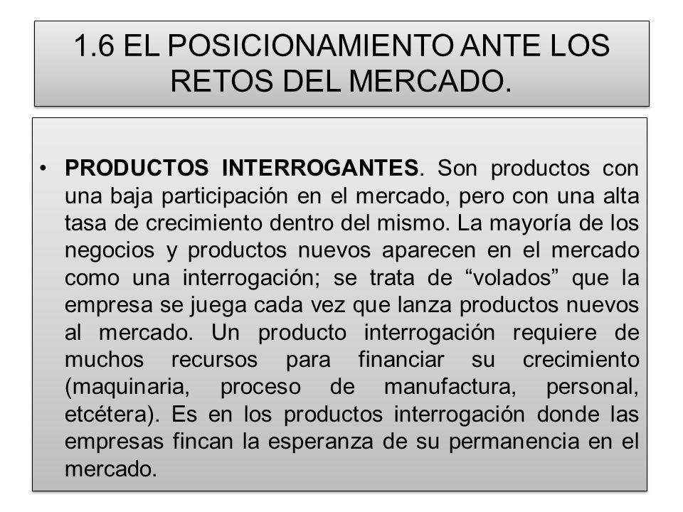 1.6 EL POSICIONAMIENTO ANTE LOS RETOS DEL MERCADO. PRODUCTOS INTERROGANTES. Son productos con una baja participación en el mercado, pero con una alta