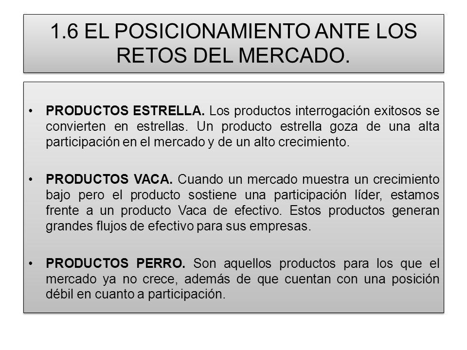 1.6 EL POSICIONAMIENTO ANTE LOS RETOS DEL MERCADO. PRODUCTOS ESTRELLA. Los productos interrogación exitosos se convierten en estrellas. Un producto es