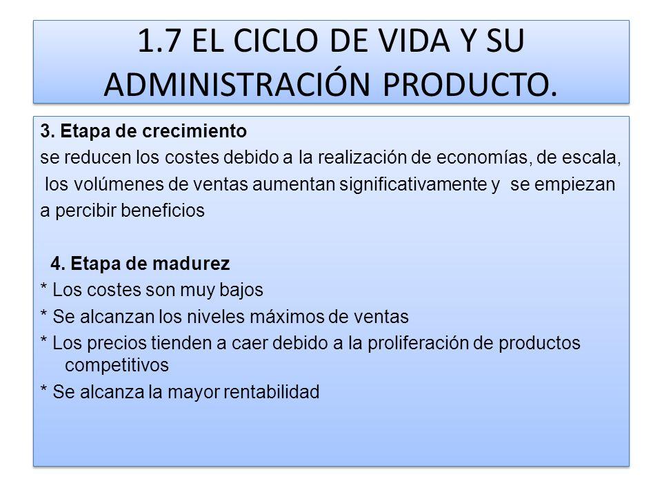 1.7 EL CICLO DE VIDA Y SU ADMINISTRACIÓN PRODUCTO. 3. Etapa de crecimiento se reducen los costes debido a la realización de economías, de escala, los