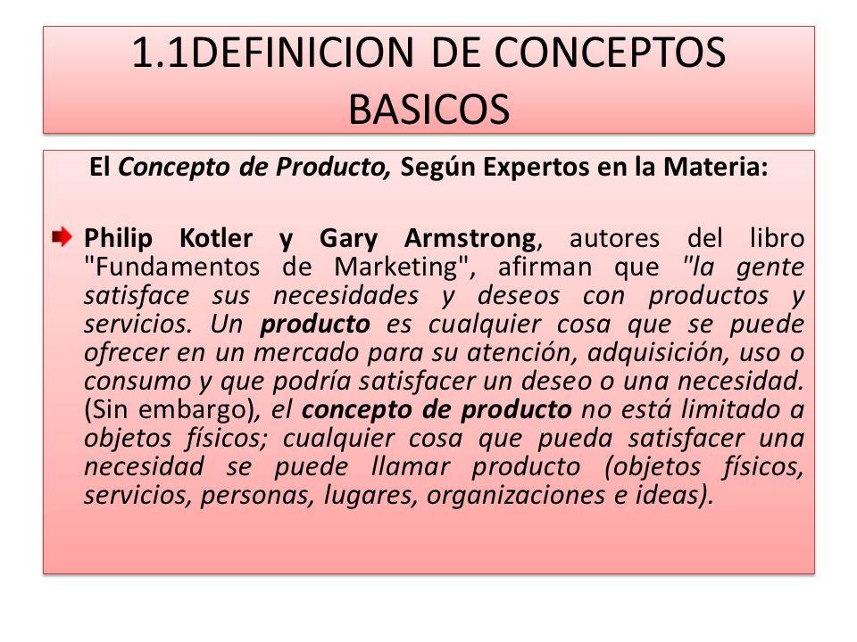 1.1DEFINICION DE CONCEPTOS BASICOS La American Marketing Asociation (A.M.A.), define el término producto, como un conjunto de atributos (características, funciones, beneficios y usos) que le dan la capacidad para ser intercambiado o usado.