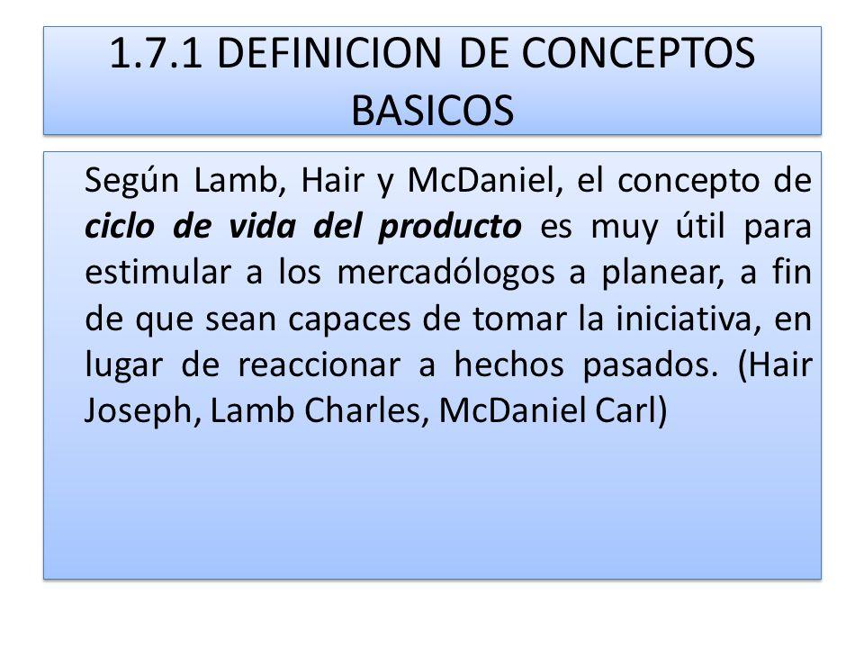 1.7.1 DEFINICION DE CONCEPTOS BASICOS Según Lamb, Hair y McDaniel, el concepto de ciclo de vida del producto es muy útil para estimular a los mercadól