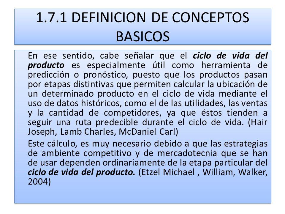 1.7.1 DEFINICION DE CONCEPTOS BASICOS En ese sentido, cabe señalar que el ciclo de vida del producto es especialmente útil como herramienta de predicc
