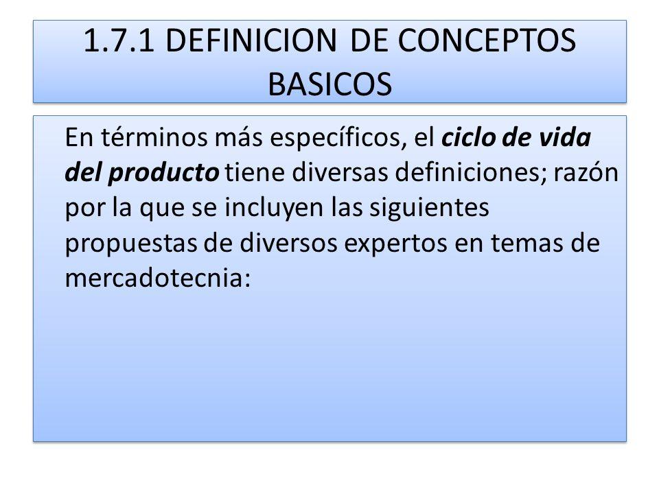 1.7.1 DEFINICION DE CONCEPTOS BASICOS En términos más específicos, el ciclo de vida del producto tiene diversas definiciones; razón por la que se incl